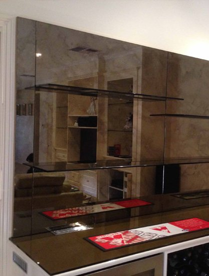 Custom Designed Of Bar Mirrors And Shelves